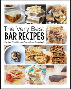 The Very Best Bar Recipes- a round up of frosted, crumb, bake and no bake recipes.  Great dessert recipes to try!