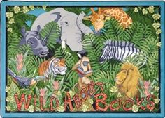 Wild About Books classroom carpet -Even the jungle animals enjoy an exciting tale! Read to your children as often as possible, and encourage them to be Wild About Books, too Brown Rug, Brown And Grey, Classroom Carpets, Preschool Jungle, Book Area, Animal Rug, Kid Essentials, Childrens Rugs, Jungle Theme