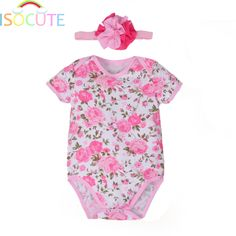 cc70eae0f799c New Baby Girl Summer Romper with Headband set Print Beautiful Rose Cotton  Newborn Girls Clothes Kids Jumpsuit 0 12 Months-in Rompers from Mother    Kids on ...