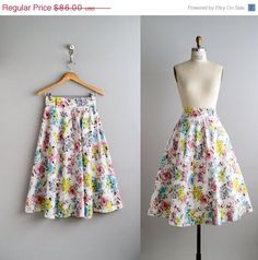 Cute!   30 OFF SALE 50s skirt  / 1950s cotton floral by VacationVintage, $60.20