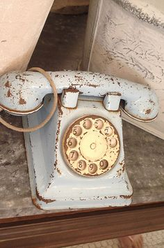 pale blue rotary phone