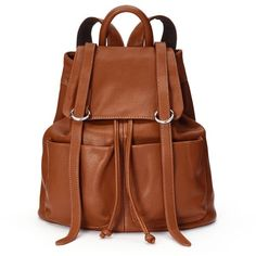 Mellow World Sarah Backpack, Brown ($63) ❤ liked on Polyvore featuring bags, backpacks, brown, mellow world, vegan leather bags, brown backpack, brown bag and drawstring backpack bags