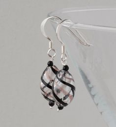 blown glass and silver earrings - black and pink £10.00