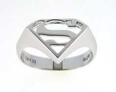Beautiful DC Comics and Star Trek-Themed Jewelry [Pics] - Visit to grab an amazing super hero shirt now on sale! Silver Claddagh Ring, Sterling Silver Rings, Superman Ring, Superman Stuff, Superman Comic, Superman Logo, Batman, Star Trek, Superhero Rings