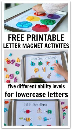 I love magnetic letters and I recently bought myself some lowercase magnets and decided to create some printables to use as mats to place over cookie sheets and turn them into wonderful magnetic free