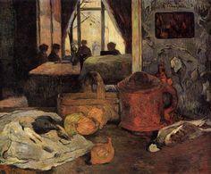 Still life of onions and pigeons and room interior in Copenhagen, 1885, Paul Gauguin Medium: oil on canvas