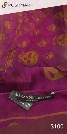 Authentic Alexander McQueen Scarf Purple/Yellow Alexander McQueen Silk Scarf (stains here and there that dry cleaning should get out) magenta/purple and yellow #alexandermcqueen #scarf #accessories #designer #skulls Alexander Wang Accessories Scarves & Wraps