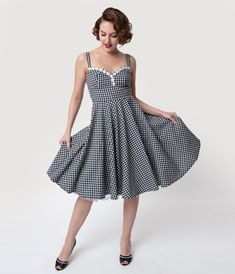 b17cac6ead Glamour Bunny 1950s Black   White Gingham Cindy Swing Dress