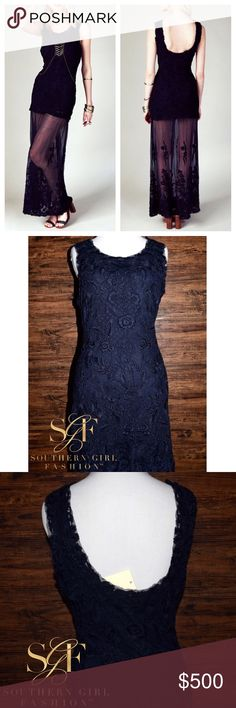FREE PEOPLE Dress Stella Maxi Homecoming Long Gown Available Sizes: XS, S. New With Tags. $298 Retail + Tax.   • Beautiful navy blue lace maxi dress features intricate floral embroidery & dotted raw mesh trim throughout.  • Fully lined bodice, unlined skirt.  • Semi-stretchy. • By Candela for Free People. • Measurements are provided in comment(s) section below.  {Southern Girl Fashion - Closet Policy} ✔️ Same-Business-Day Shipping (10am CT). ✔️ Reasonable best offer considered when submitted…