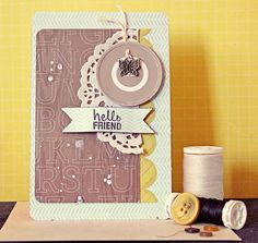 Card butterfly butterflies Layout with ½ doily, circle and small butterfly Lilith Eeckels