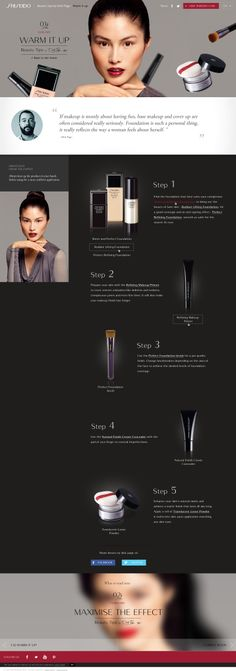 """Design & création d'un mini-site """"MakeUp Tips"""" for Warm it Up. En Responsive Design avec Parallaxe pour la marque """"Shiseido"""". #WebDesign #Luxe #UX"""