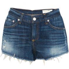 Rag & Bone Cut Off Jean Short ($115) ❤ liked on Polyvore featuring shorts, bottoms, pants, short, denim, short cut off jean shorts, zipper shorts, denim cutoff shorts, pocket shorts and cutoff shorts