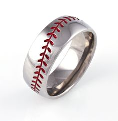 Baseball Wedding Band..I wouldn't want this as a wedding band-just a casual ring to wear to the ball games. Cute, cute, cute!
