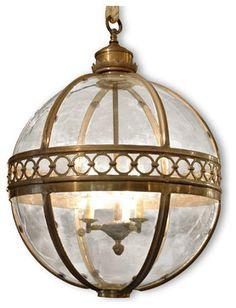 Jordan Global Bazaar Round Antique Brass Pendant Lantern - Large 3 Light transitional-pendant-lighting  $2,082