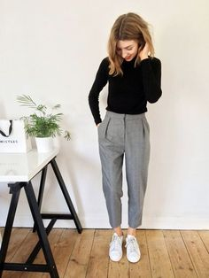 cropped tailored trousers, roll neck jumper, converse white
