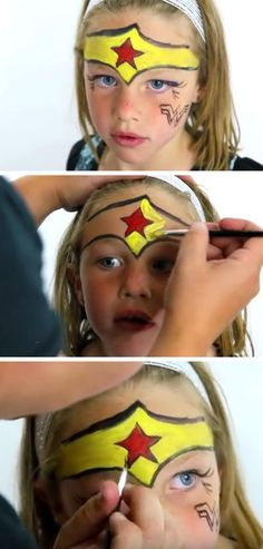 Wonder Woman Kids Face Paint | DIY Summer Activities for Kids Art | Simple Face Painting Ideas for Kids