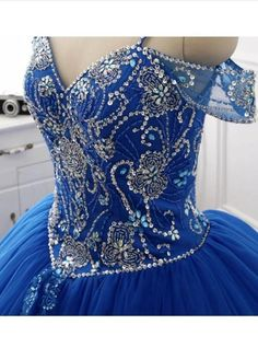 Gorgeous Tulle Royal Blue Crystal Beading Ball Gown Prom Dress, Formal Quinceanera Dress T1805 Royal Blue Prom Dresses, V Neck Prom Dresses, Blue Evening Dresses, Prom Dresses 2017, Long Prom Gowns, Beaded Prom Dress, Ball Gowns Prom, Cheap Bridesmaid Dresses, Quinceanera Dresses