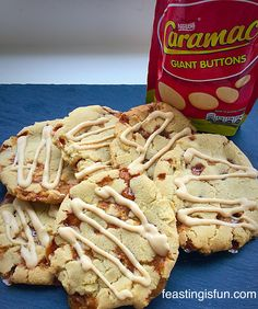 Caramac Caramel Cookies utterly delicious, stuffed with butterscotch chips that melt to become gooey caramel, with a creamy Caramac drizzle. Uk Recipes, Sweet Recipes, Baking Recipes, Cookie Recipes, Dessert Recipes, British Recipes, Shortbread Recipes, Desserts, Cookies