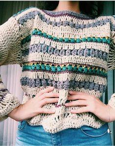 Boho jersey picture only T-shirt Au Crochet, Cardigan Au Crochet, Beau Crochet, Pull Crochet, Mode Crochet, Crochet Coat, Crochet Shirt, Learn To Crochet, Crochet Clothes