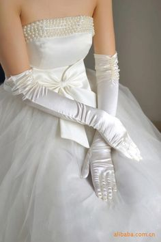Elegant elbow satin gloves