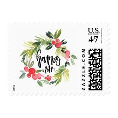 Watercolor Holly Wreath Happy New Year Stamp