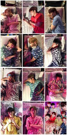 Wanna one go to sleep 🌒🌒🌒 Kim Namjoon, Kim Taehyung, Seokjin, Jinyoung, Jimin, Bae, Cho Chang, Ong Seung Woo, Guan Lin