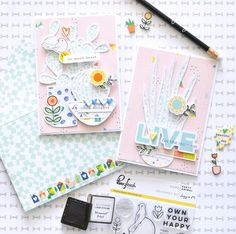 Cards with Dream On collection with Flora Farkas – Pinkfresh Studio