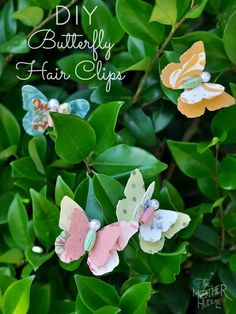 Fabric Butterfly Hair Clips... My girls would love these.