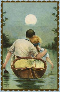 Resultado de imagen para ginsburg illustration romance index Vintage Romance, Vintage Art, Photo Humour, Art Ancien, Vintage Couples, Moon Lovers, Beautiful Moon, Gif Animé, Couple Art