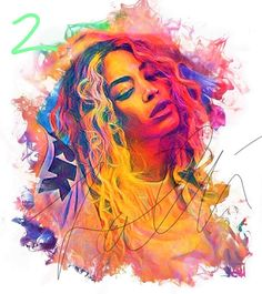 Beyonce Queen B Colourful Edit PRINT. Card Threading of