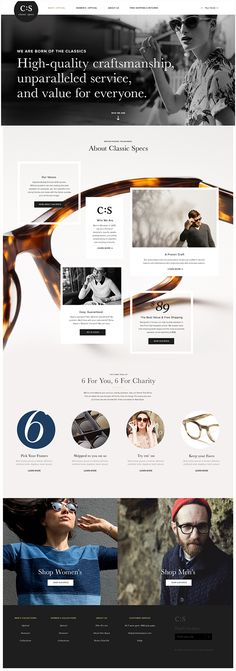 C:S Redesign by Joshua Long, via Behance . UI . web design . grid . accesories . e-commerce . eyeglasses