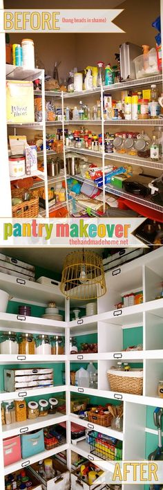 build easy pantry shelves - The Handmade Home A simple and easy tutorial on how to build pantry shelves.Tansform your pantry and your life with this easy tutorial and supply list. Pantry Shelving, Pantry Storage, Pantry Organization, Kitchen Storage, Pantry Ideas, China Storage, Open Shelving, Food Storage, Organization Ideas