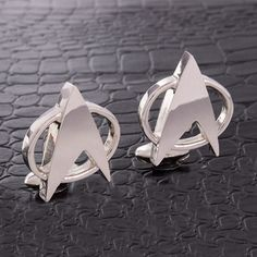 Star Trek Silver Cufflinks Handmade Groomsmen Gift Unique Wedding Designer Cuff #Handmade