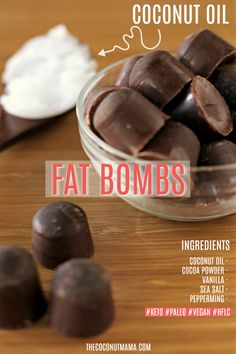 These coconut oil fat bombs help to speed up your metabolism, support your thyroid and boost your energy! These coconut oil fat bombs help to speed up your metabolism, support your thyroid and boost your energy! Coconut Oil Chocolate, Chocolate Fat Bombs, Low Carb Chocolate, Mint Chocolate, Healthy Chocolate, Chocolate Recipes, Keto Fat, Low Carb Keto, High Fat Keto Foods
