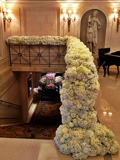 Railing detail of spilling hydrangeas by Jeff Leatham