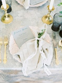 elegant French inspired place setting - photo by Emily March Photography http://ruffledblog.com/french-impressionist-inspired-wedding