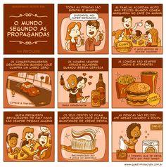 #68 - O mundo segundo as propagandas   Quadrinhos Ácidos