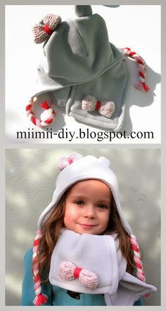 How to sew a hat and scarf with fleece for winter, step-by-step instructions, diy, cut and pattern ...