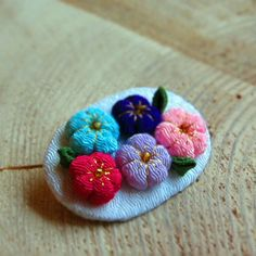 The Pok pok almost in bloom Japanese ume brooch by ookaminohime, $12.00