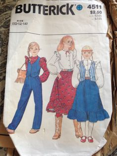 #Butterick4511 Girls' vest, blouse, skirt & pants, size 10-12-14. Looks to be from the 1980s.
