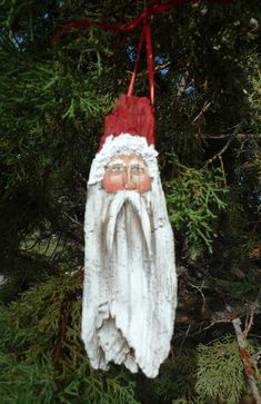 Hand made rustic wooden Santa ornament one by 1RamblingPaintbrush, $13.50