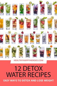 12 of the most delicious detox water recipes for weight loss, to flush fat, to cleanse your system and for clear skin. Body flush and fat burning recipes for energy, for acne and recipes for flat belly and bloating. Weight Loss Meals, Weight Loss Drinks, Weight Loss Smoothies, Digestive Detox, Lemon Diet, Infused Water Recipes, Fat Burning Detox Drinks, Healthy Detox, Healthy Water
