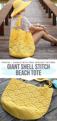 Giant Shell Stitch Beach Tote Free Crochet Pattern  #crochetbag