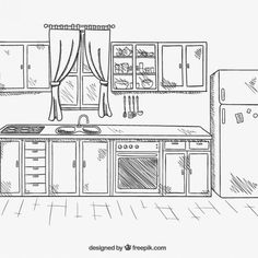 The genre& classic, but in the end the simplest solutions turn out to be the best b . Kitchen Tiles Design, Kitchen Wall Tiles, Modern Kitchen Design, Kitchen Backsplash, Kitchen Cabinets, Interior Flat, Home Interior, Tips And Tricks, Room Sketch