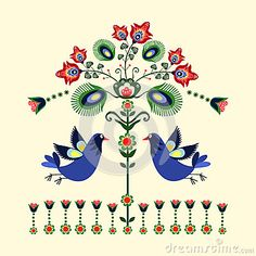 Folk pattern with birds in the spring.