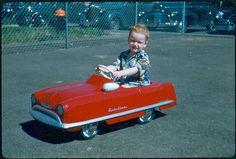 Vintage Photo of Child in Kidillac Pedal Car