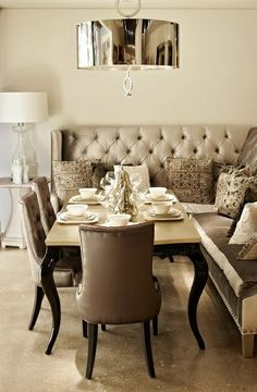 Grey bench dining
