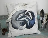 Badger Couple Illustration Eco Tote Bag ~ 100% Cotton Long Handles