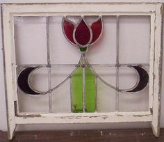 Beautiful EDWARDIAN LEADED STAINED GLASS WINDOW Very Pretty Flower.
