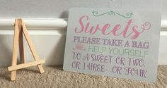 Sweet Table Candy Stall Cart Buffet Jar Sign With Easel Wedding Party A5 - Pink